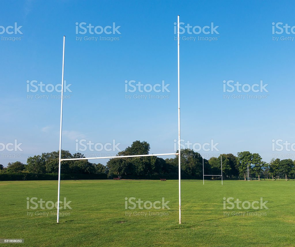 Rugby pitch and try-line goal posts in a public park stock photo