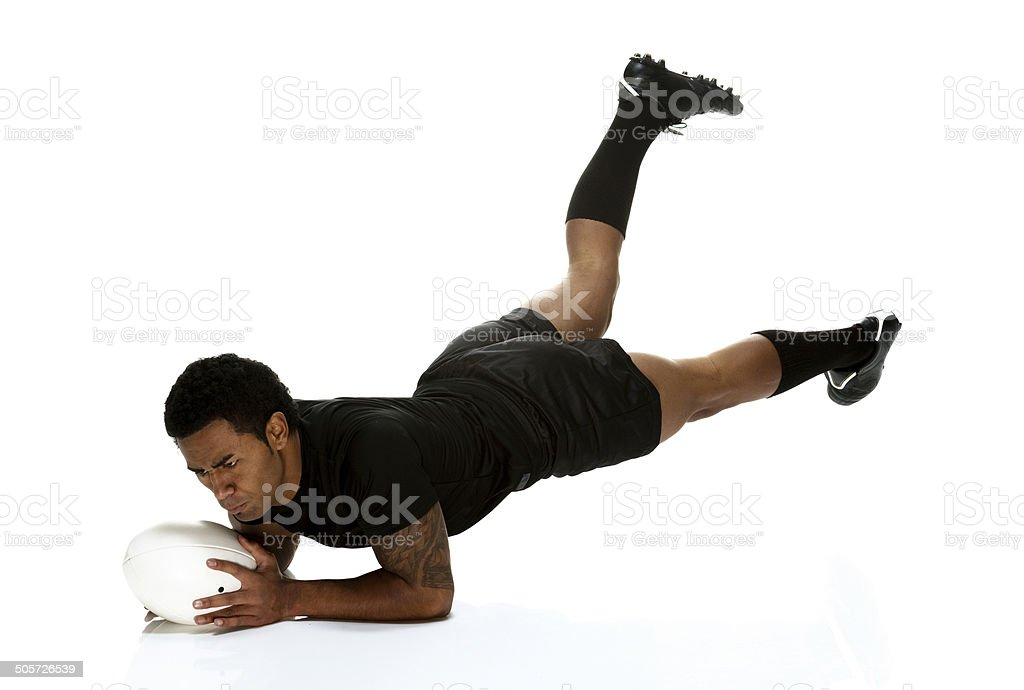 Rugby player diving into the ground royalty-free stock photo