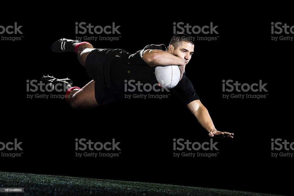 Joueur de Rugby, isolé en noir. - Photo