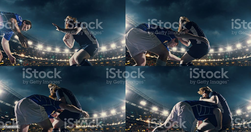 Rugby player jumps with a ball stock photo
