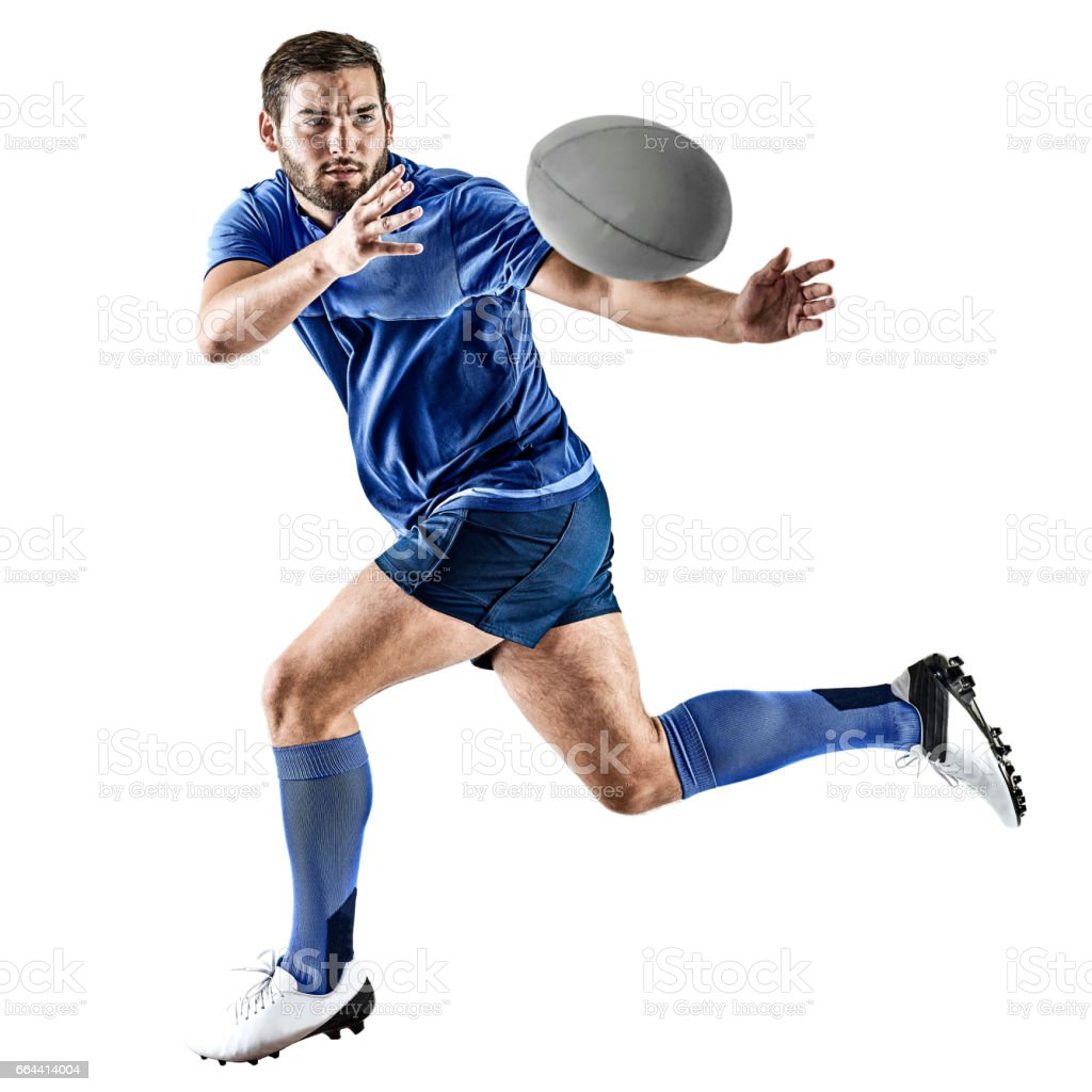 rugby player man isolated stock photo