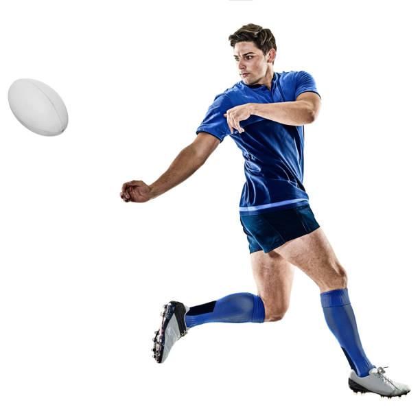 mann isoliert-rugby player - französisch übungen stock-fotos und bilder