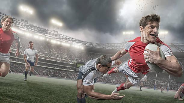 Joueur de Rugby des Scores de tâche plongée au match de Rugby - Photo