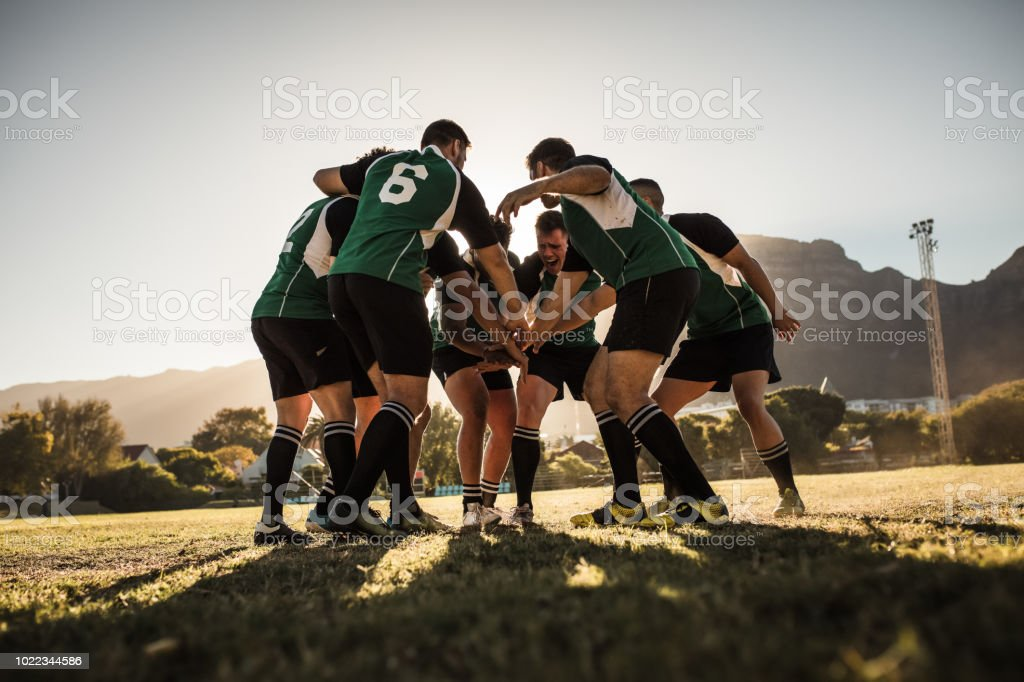 Rugby players cheering and celebrating win stock photo