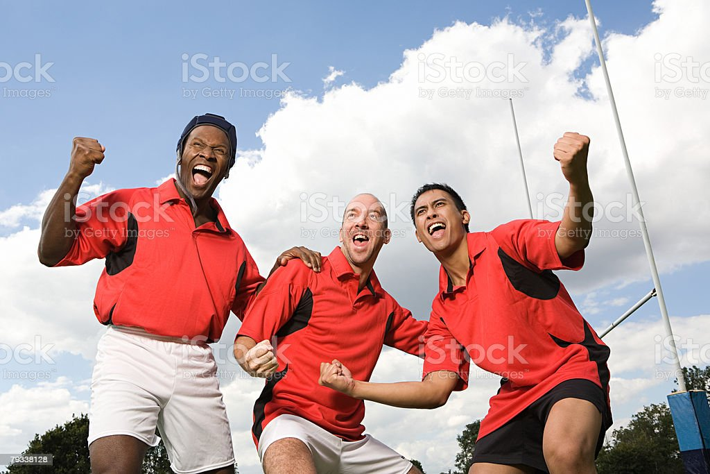 Rugby-Spieler jubeln Lizenzfreies stock-foto