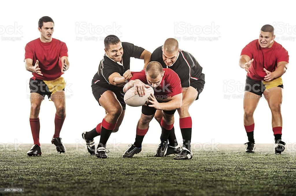 Rugby players in action. stock photo