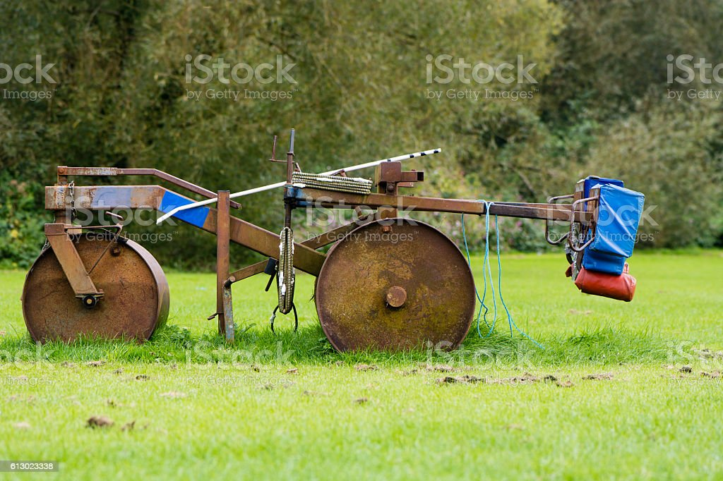 Rugby scrum machine in profile stock photo