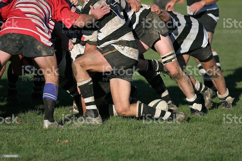 Rugby Scrum stock photo