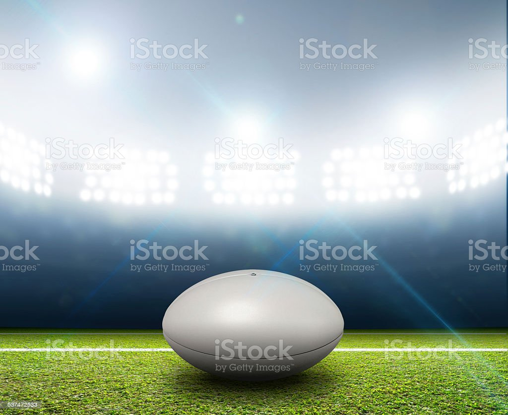 Rugby Stadium And Ball stock photo