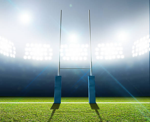 estadio de rugby y postes - rugby fotografías e imágenes de stock