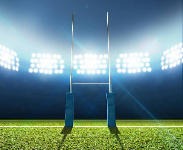 Estadio de Rugby y postes - foto de stock