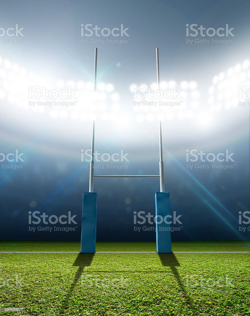 Rugby Stadium And Posts stock photo