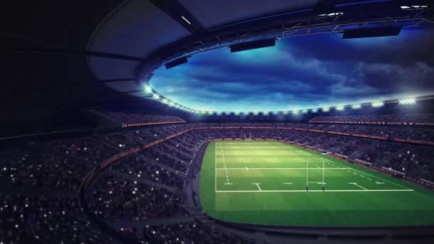 estadio de rugby con fans bajo techo con focos - rugby fotografías e imágenes de stock