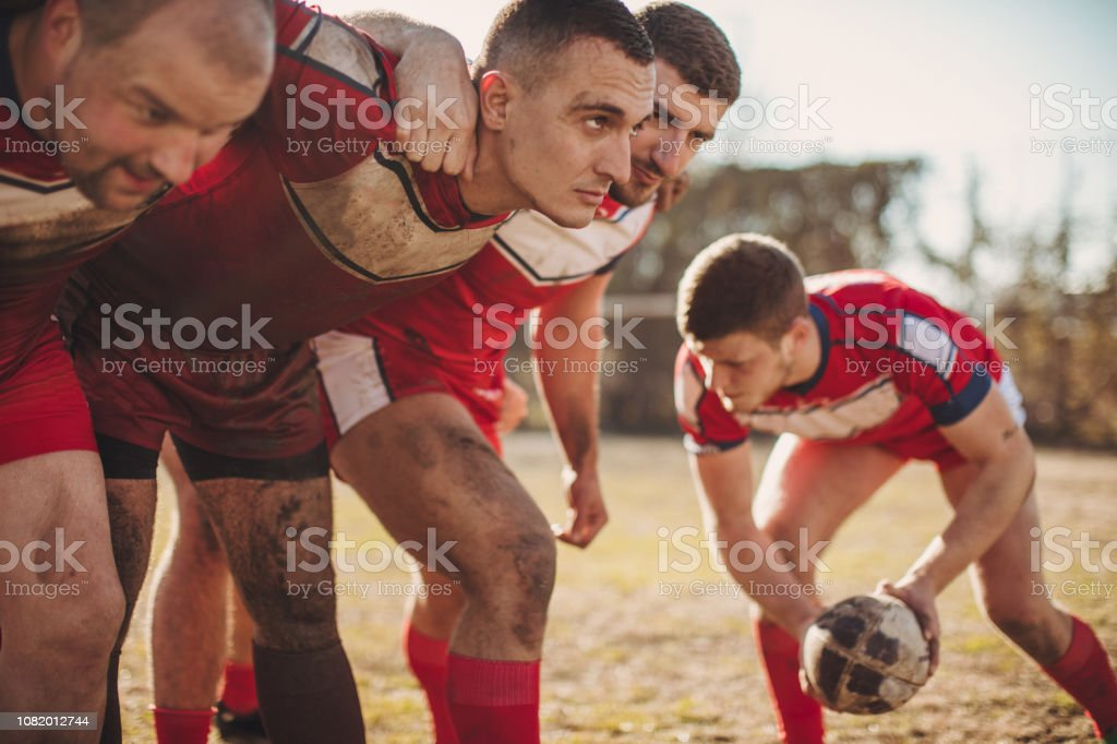 Rugby players doing warm up exercises before game.