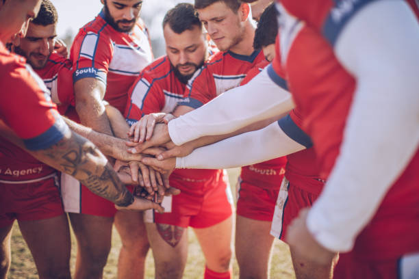 Rugby team unity stock photo