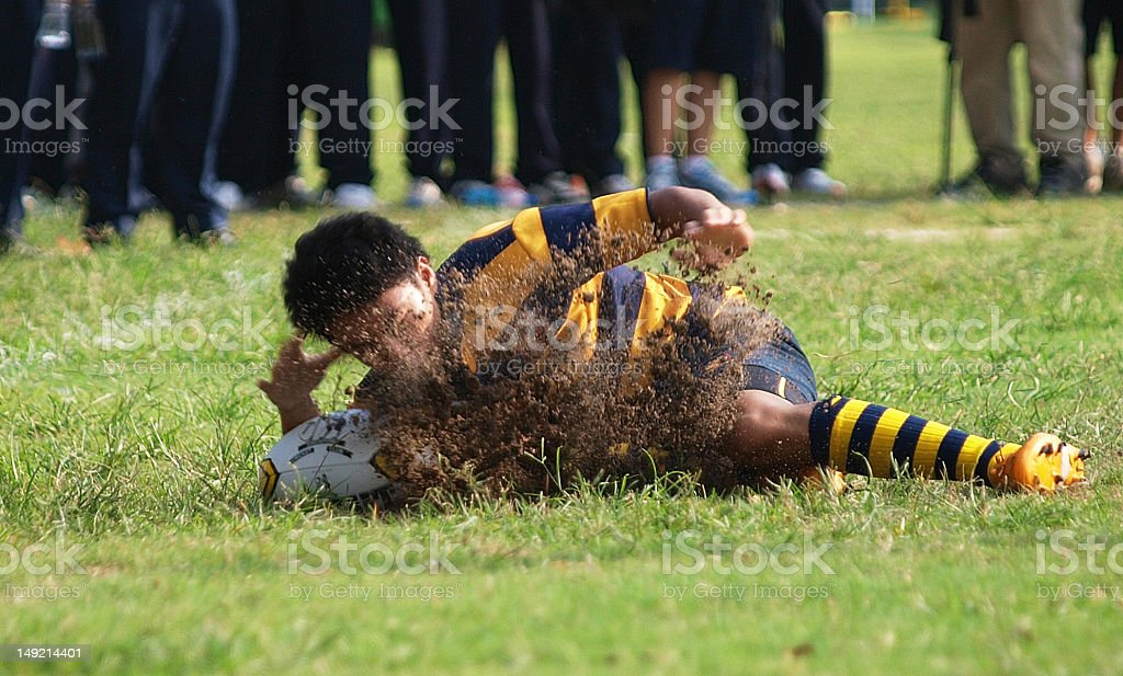 Rugby Try scored stock photo