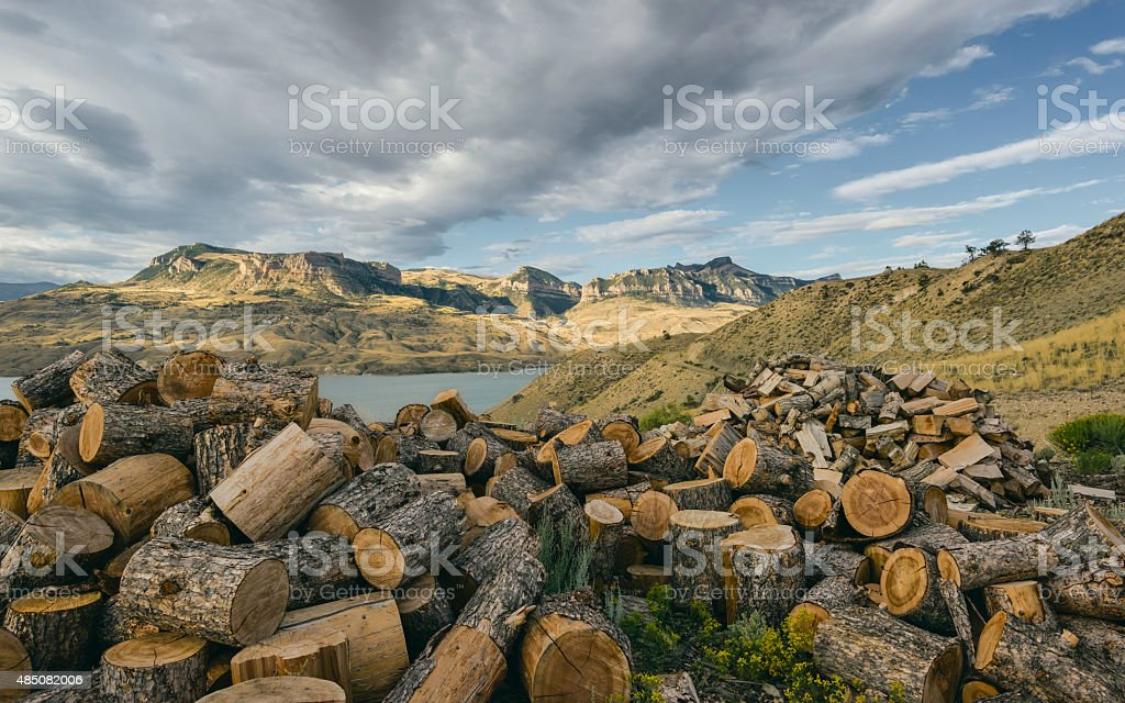 Rugged, arid landscape, Cody, Wyoming, USA. stock photo
