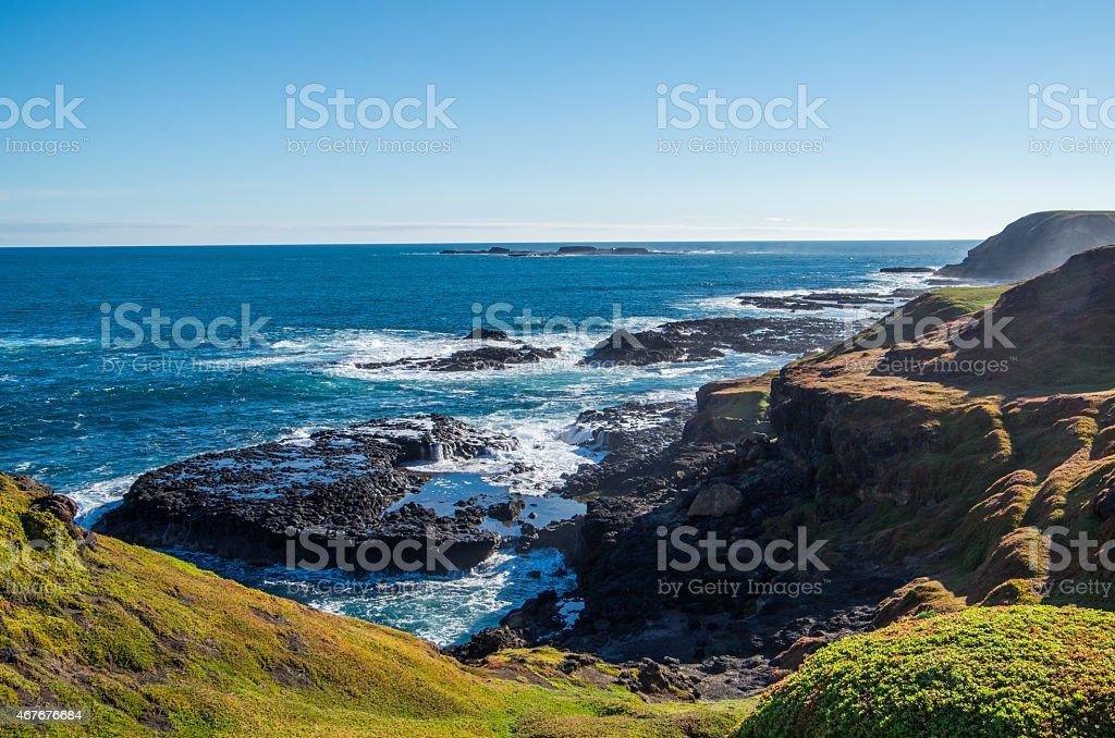 Rugged Australian coastline on Phillip Island stock photo