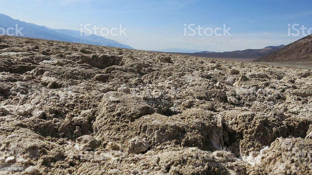 Rugged Badwater Basin Salt Flats, Death Valley National Park, California stock photo