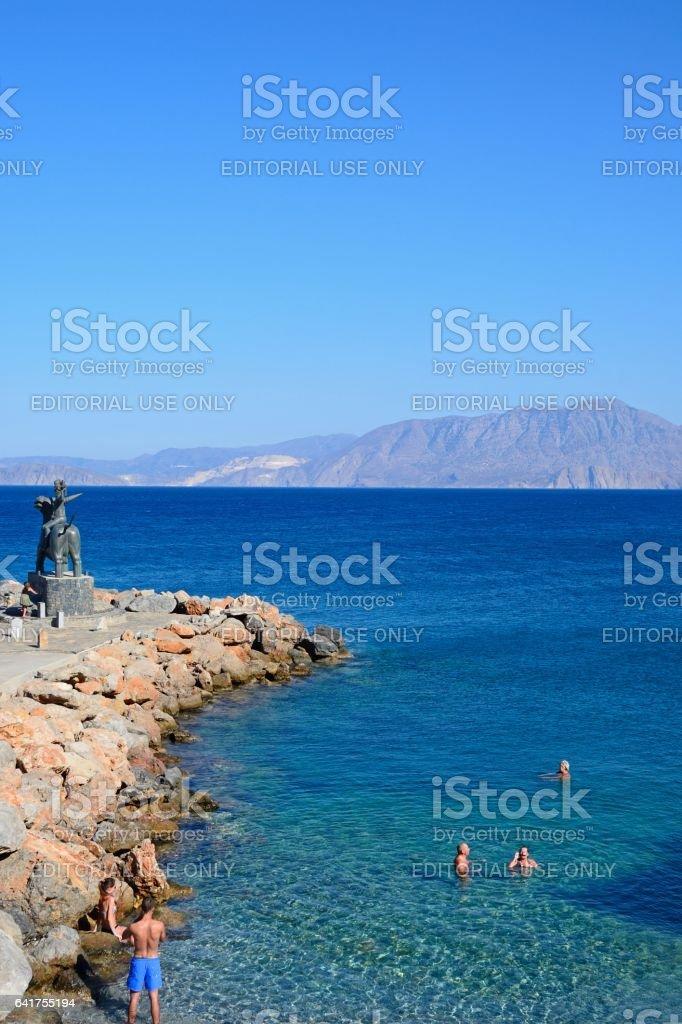 Rugged beach and coastline, Agios Nikolaos. stock photo