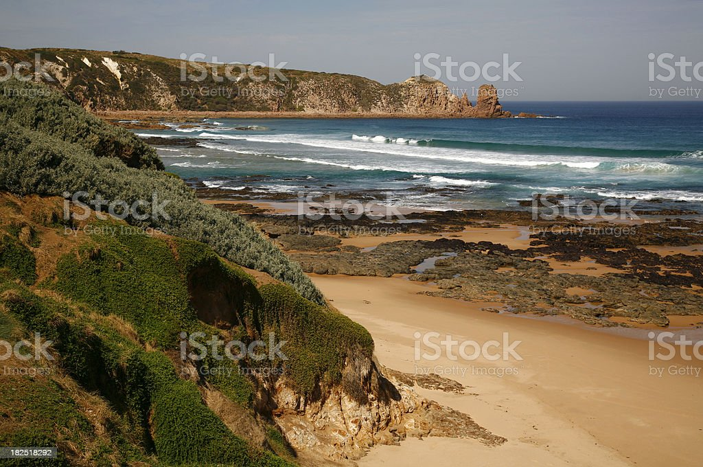 Rugged coastal scenery, Phillip Island stock photo