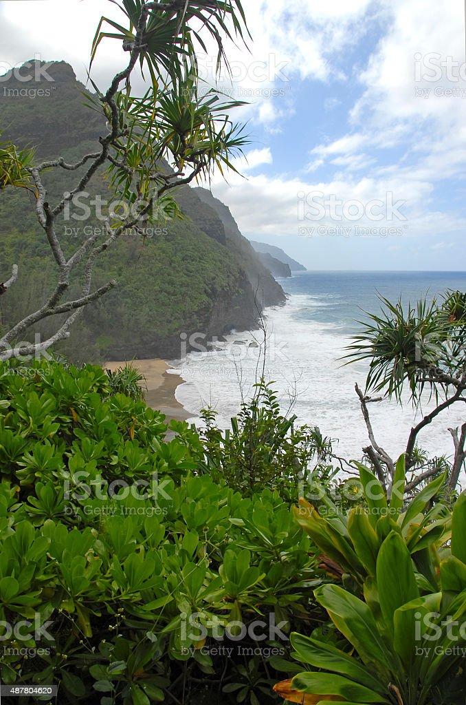 Rugged Coastline and Cliffs of Kauai, Hawaii stock photo