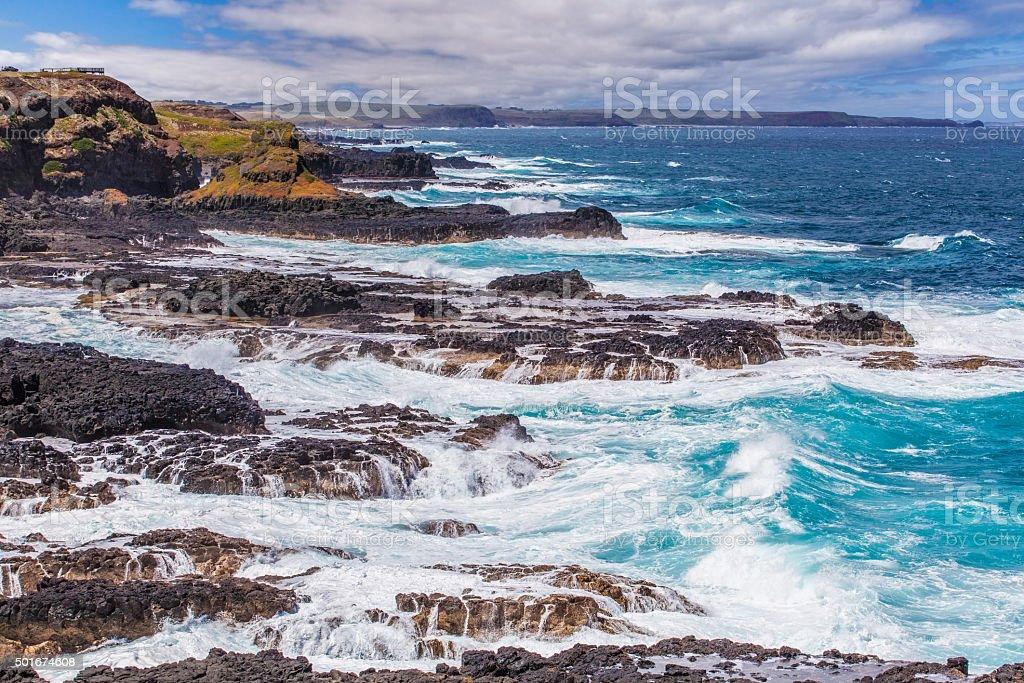 Rugged coastline of Nobbies, Phillip Island, Australia stock photo
