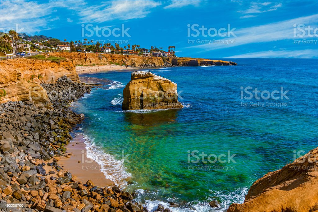 Rugged coastline Point Loma Sunset Cliff Park, San Diego,(P) stock photo