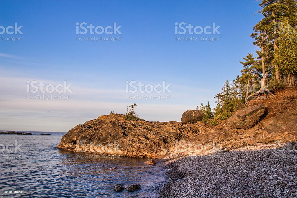 Rugged Lake Superior Coast In Beautiful Marquette Michigan stock photo