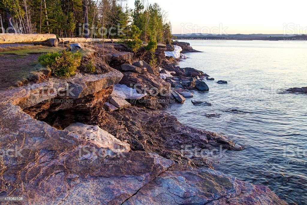 Rugged Lake Superior Shore Of Presque Isle Park Marquette Michigan. stock photo