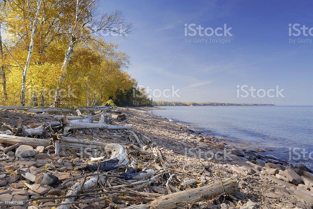 Rugged Lake Superior shoreline stock photo