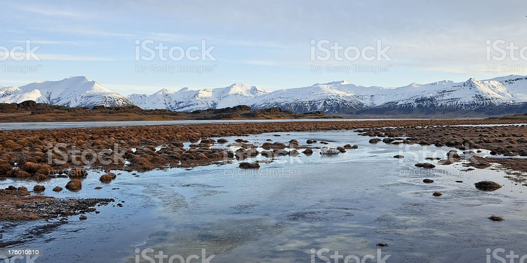Rugged landscape in South-East Iceland in winter royalty-free stock photo
