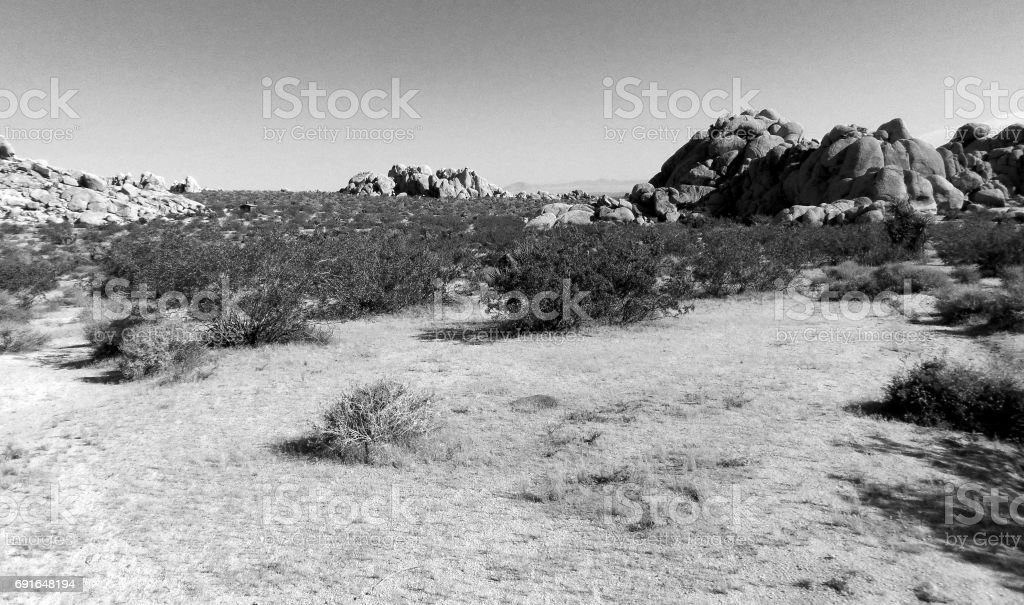 A Rugged Landscape in the California Desert stock photo