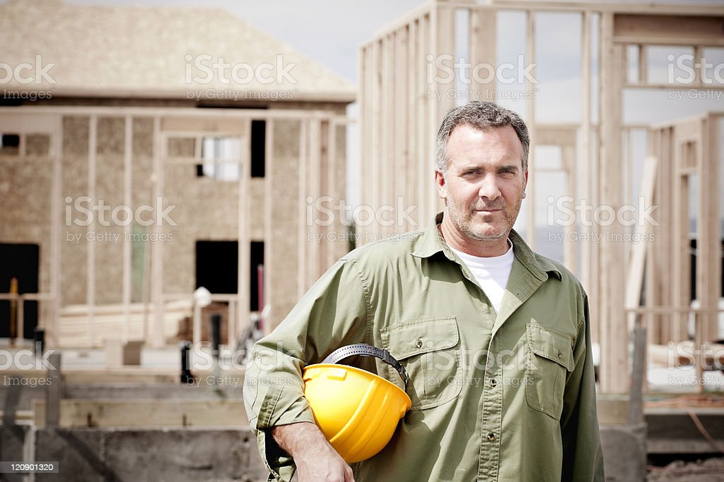 Rugged Male Construction Worker stock photo