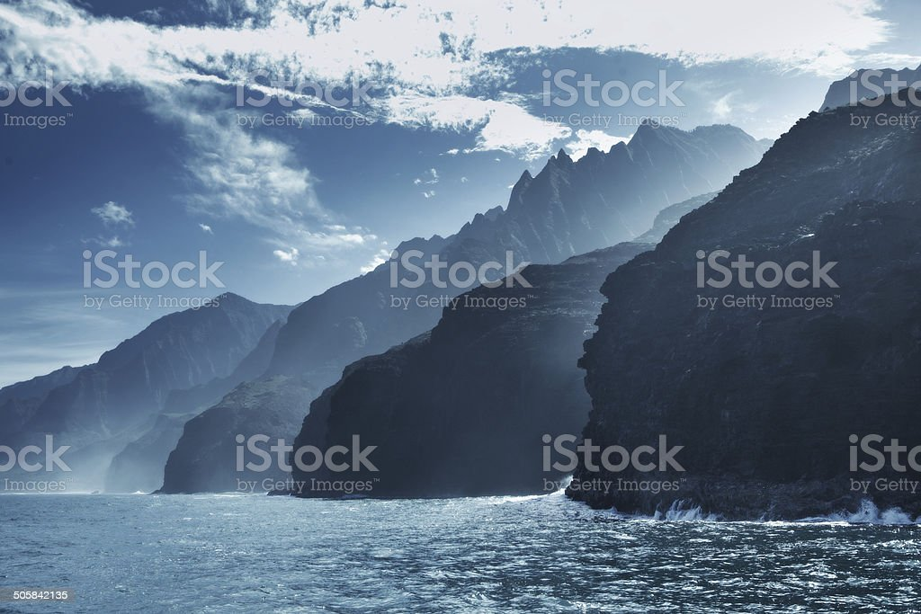 Rugged Na Pali Coast of Kauai Hawaii stock photo