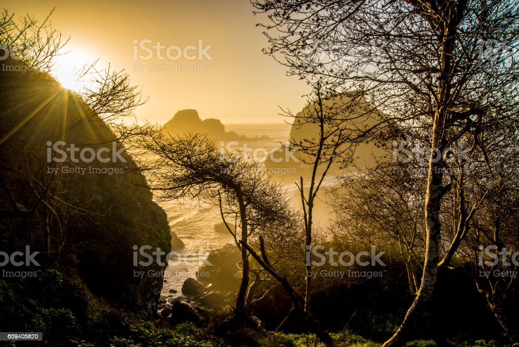 Rugged Northcoast sunset stock photo
