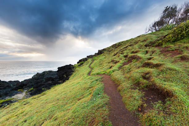 Rugged Path Leads Towards a Stormy Sky stock photo