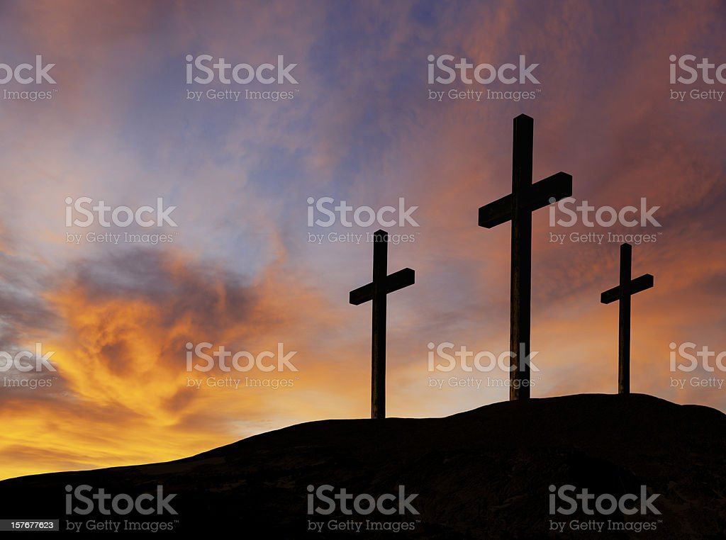 Rugged Wooden Crosses stock photo
