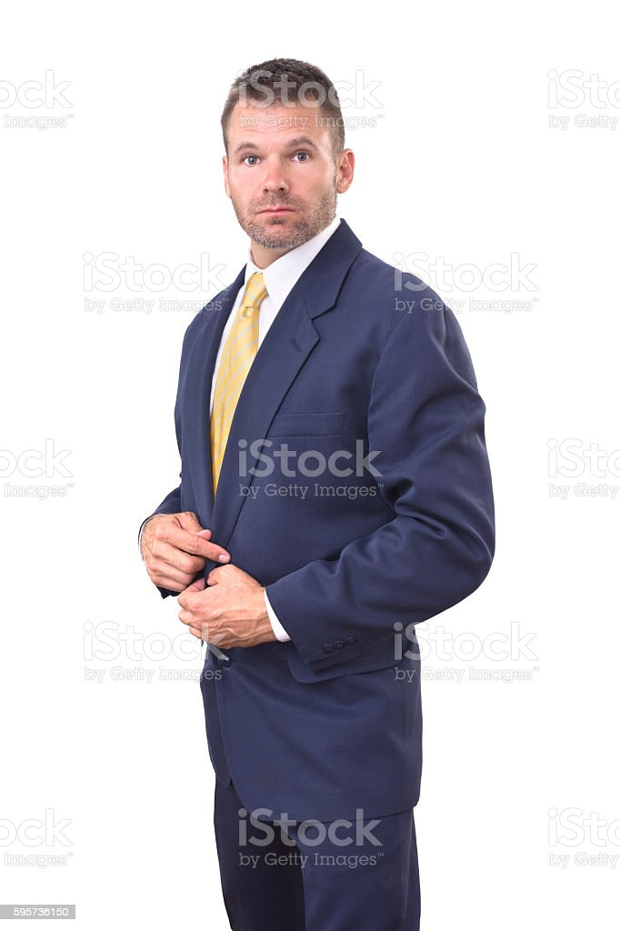 Ruggedly good looking in suit stock photo