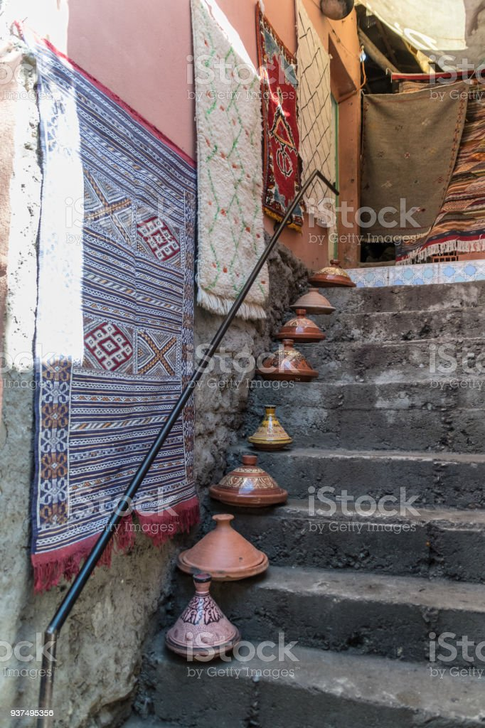 Rugs and tagines for sale in Berber village, Morocco stock photo