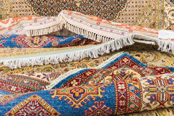 Rugs for purchase a at rug and tapestry weaving school stock photo