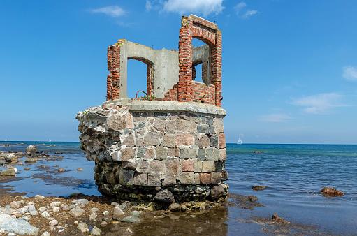 Ruin at the beach of the Cape Arkona, Iland of Ruegen,Germany