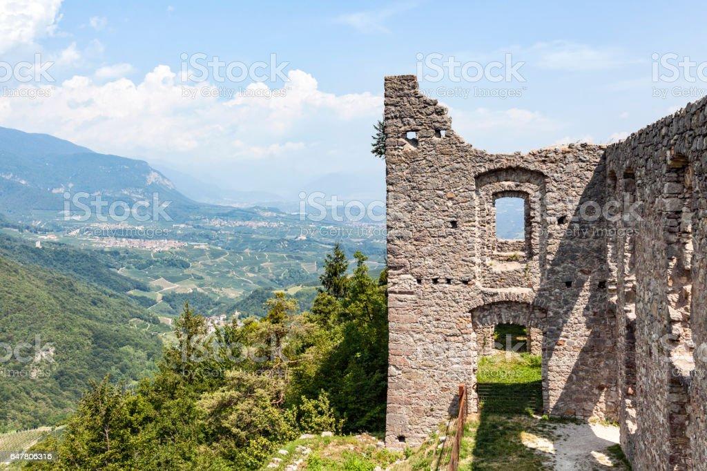 Ruin Castel Belfort in Italy stock photo