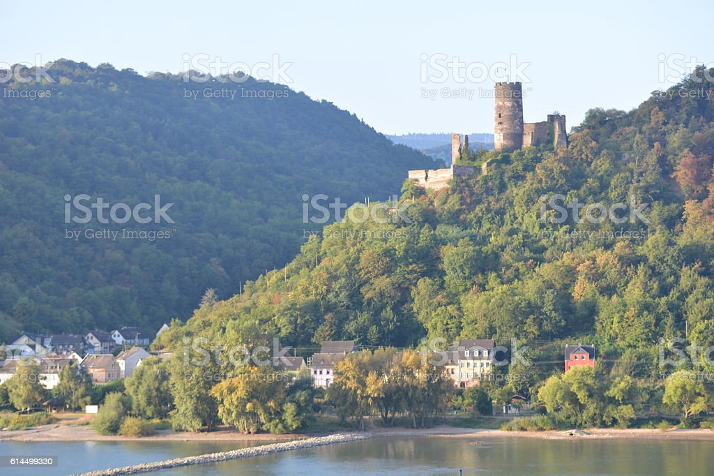 Ruin Fuerstenberg near Loreley with passenger boat Goethe stock photo