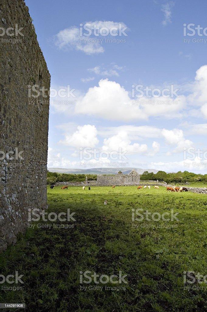 Ruin in Kilmacduagh monastery. Ireland royalty-free stock photo