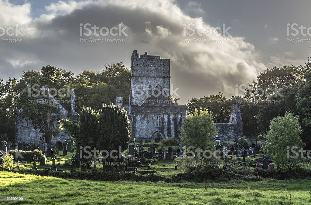 Ruin of a castle in the woods stock photo