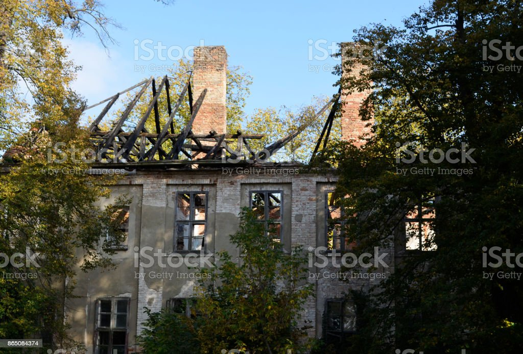 Ruin of a manor house stock photo