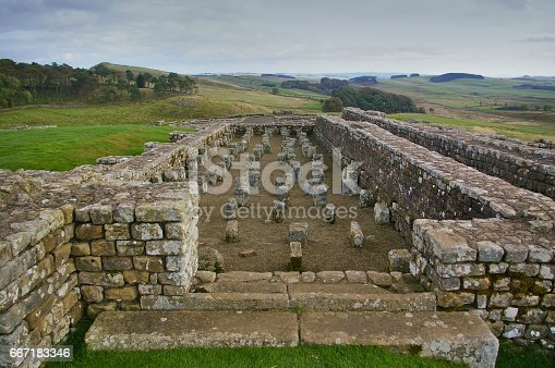istock Ruin of a Roman fort on the Hadrian`s Wall 667183346