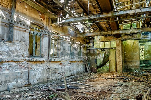 istock Ruin of an old factory 168616916