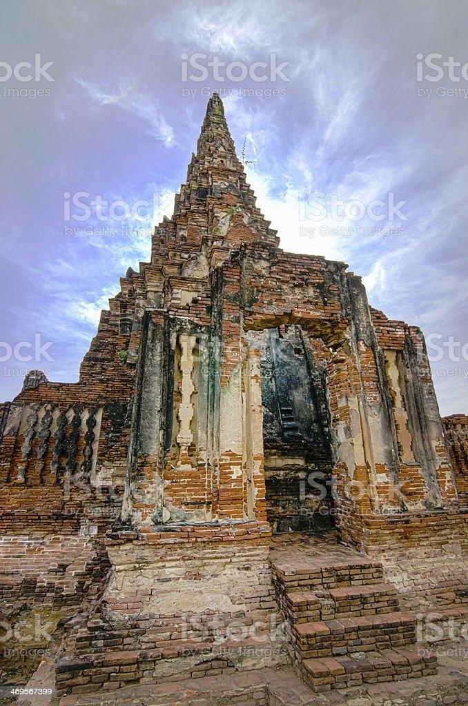 Ruin of Ancient Pagoda in Ayutthaya, Thailand royalty-free stock photo